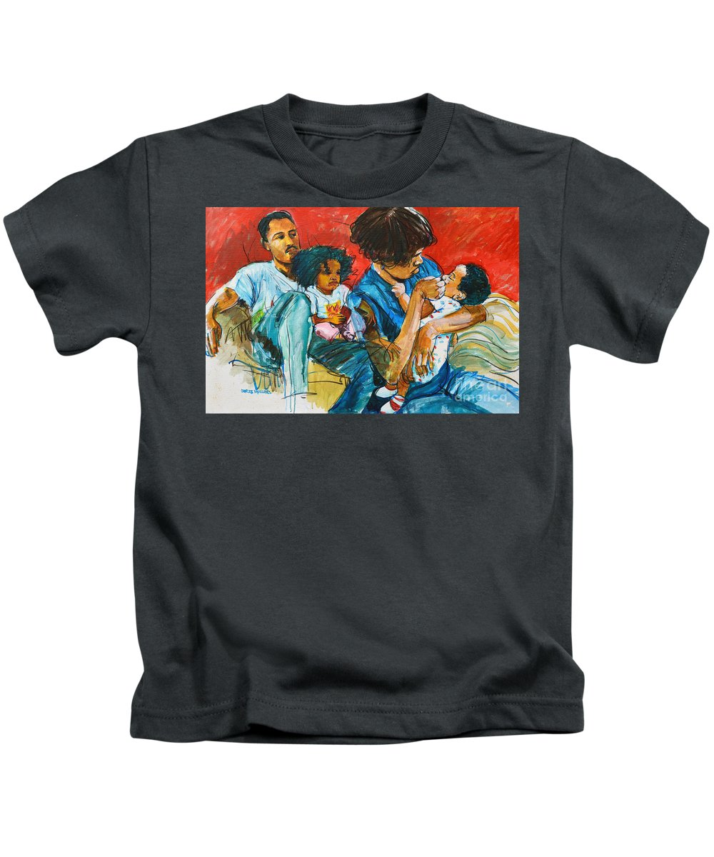 Child Kids T-Shirt featuring the painting Our Love by Charles M Williams