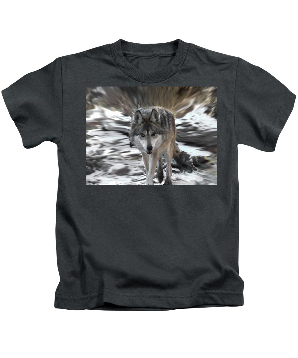Wolf Kids T-Shirt featuring the digital art Out Of Nowhere by Ernie Echols
