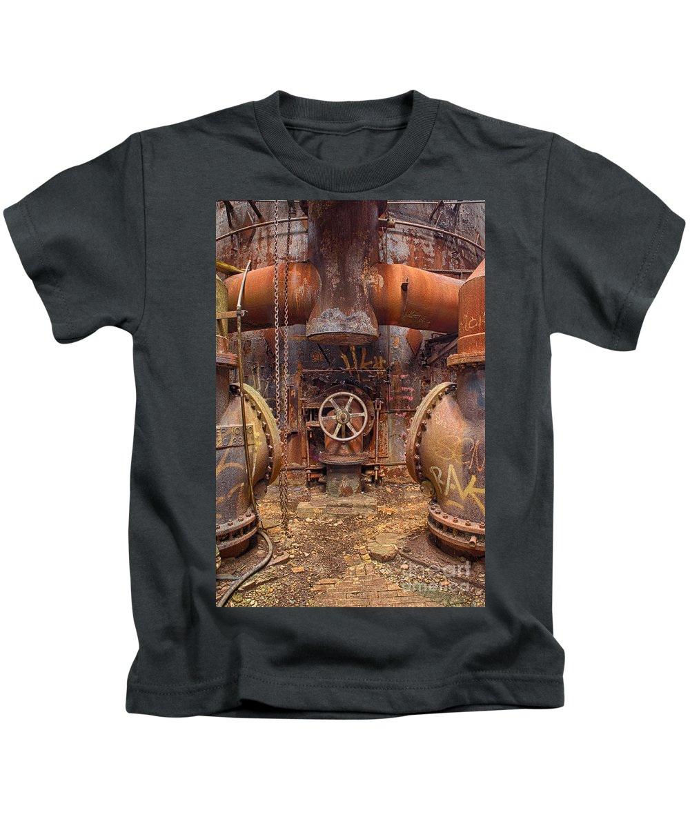 Carrie Furnace Kids T-Shirt featuring the photograph Out Of The Furnace by Brandon Hirt