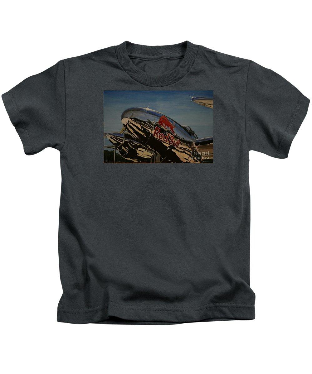 Warbirds Kids T-Shirt featuring the painting P38 Red Bull Lightning Warbird by Richard John Holden RA