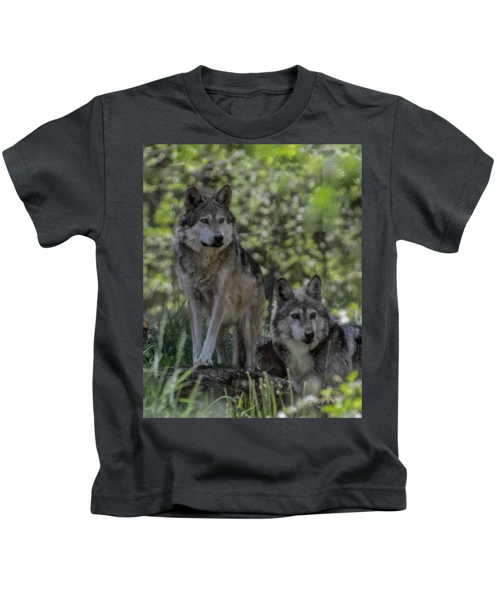 Wolf Kids T-Shirt featuring the digital art Pair Of Wolves by Ernie Echols