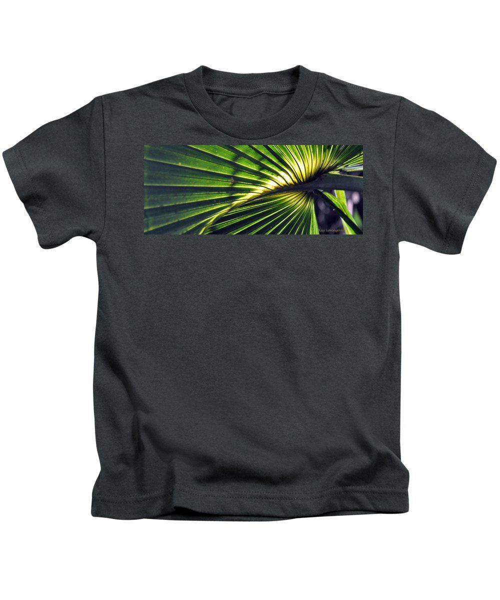 Beach Tropics Kids T-Shirt featuring the photograph Palm Frond by Kay Lovingood