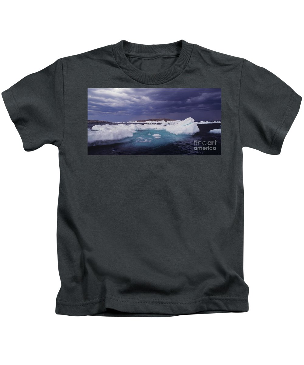 North America Kids T-Shirt featuring the photograph Panorama Ice Floes In A Stormy Sea Wager Bay Canada by Dave Welling