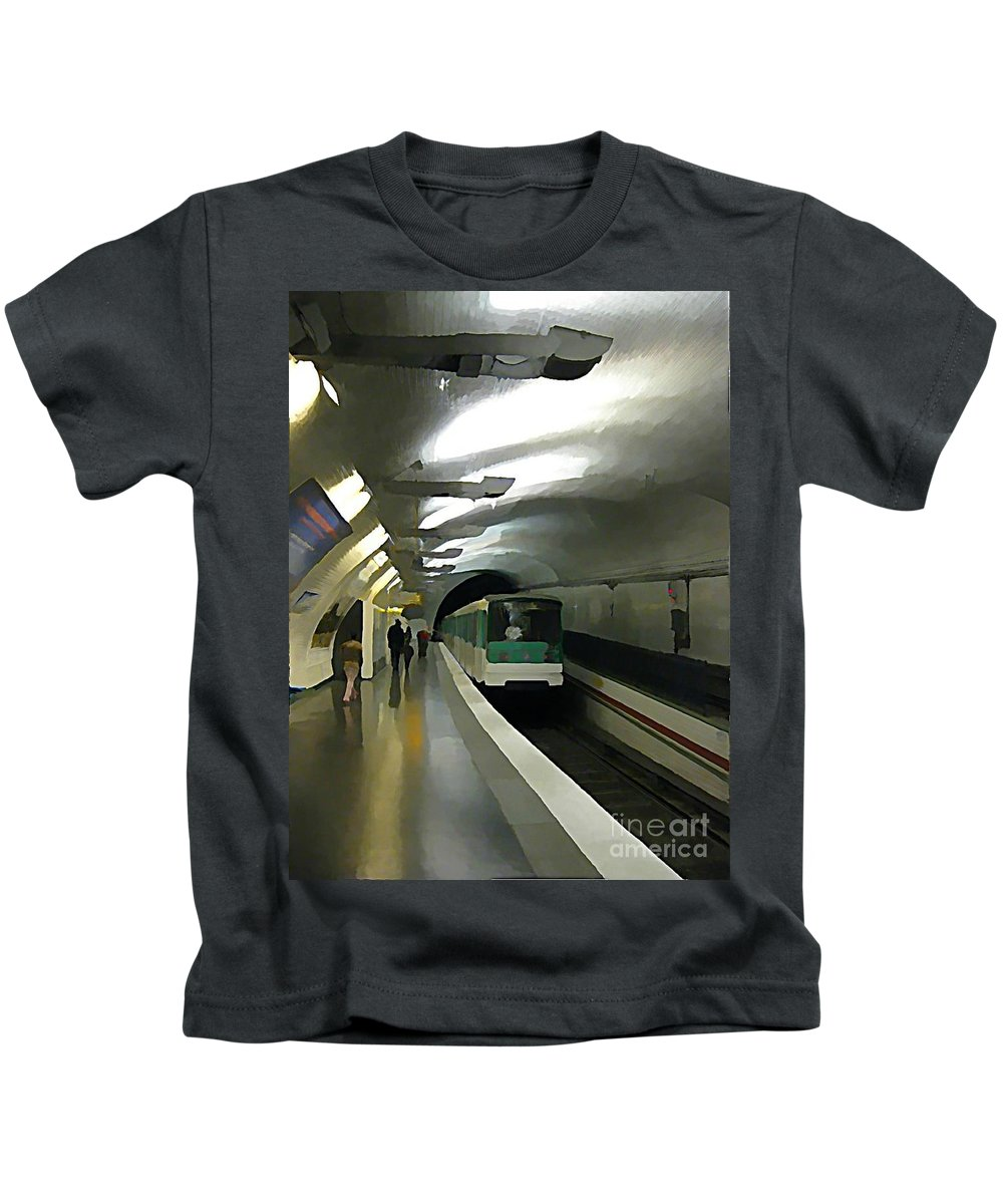 Subway Kids T-Shirt featuring the painting Paris Subway by John Malone
