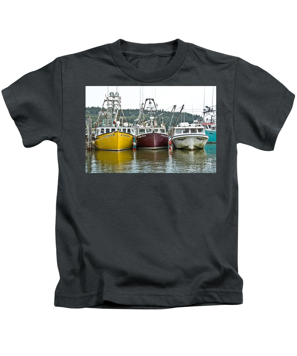 Kids T-Shirt featuring the photograph Parked Fishing Boats by Cheryl Baxter