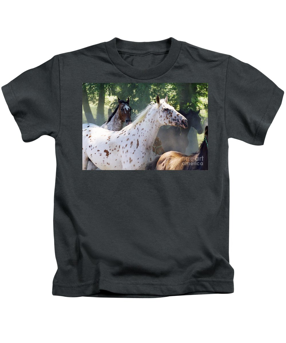 Appaloosa Kids T-Shirt featuring the photograph Patches And Dots by Angel Ciesniarska