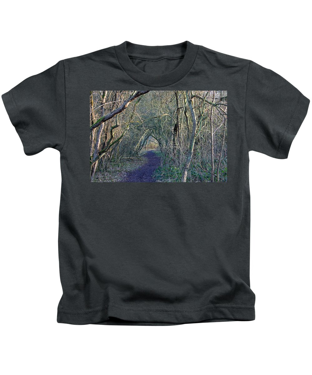 Wintry Woodland Kids T-Shirt featuring the photograph Path Through The Woods by Tony Murtagh