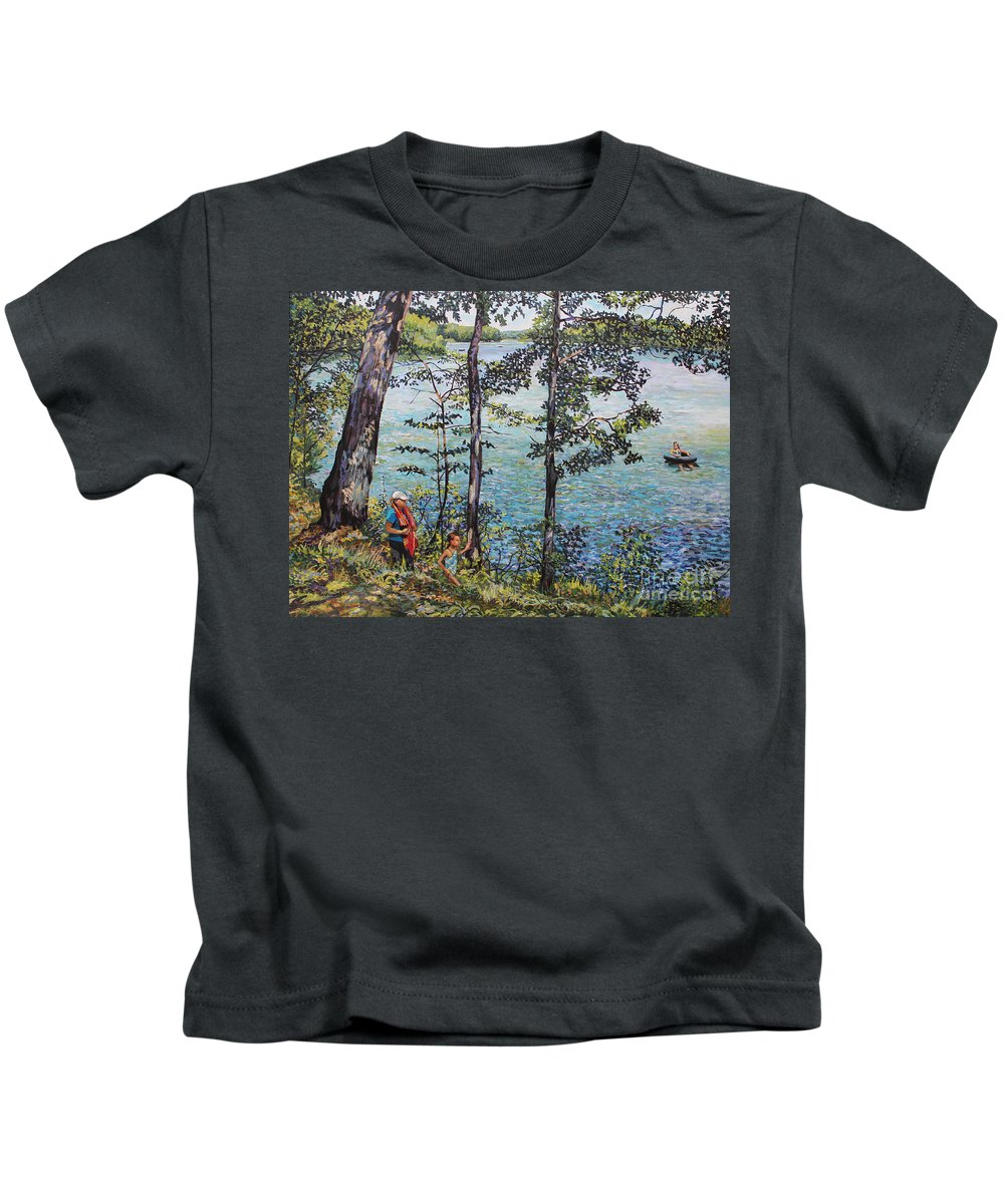 Lake Kids T-Shirt featuring the painting Path To The Lake by William Bukowski