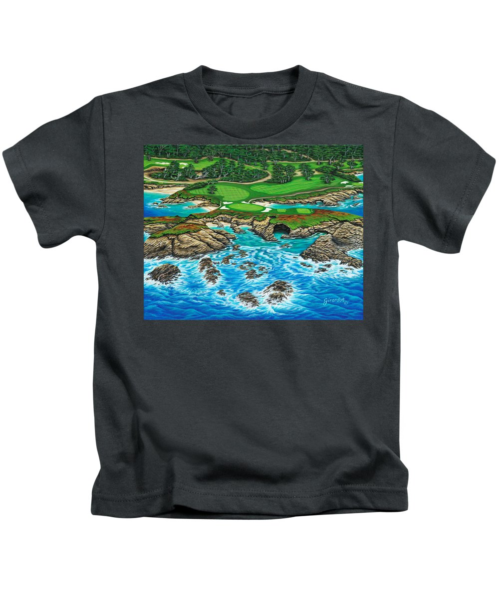 Ocean Kids T-Shirt featuring the painting Pebble Beach 15th Hole-north by Jane Girardot