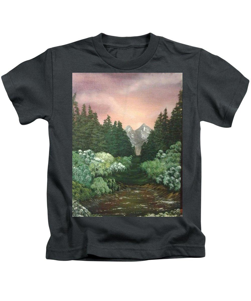 Landscape Kids T-Shirt featuring the painting Peek-a-boo Mountains by Amanda Rardin