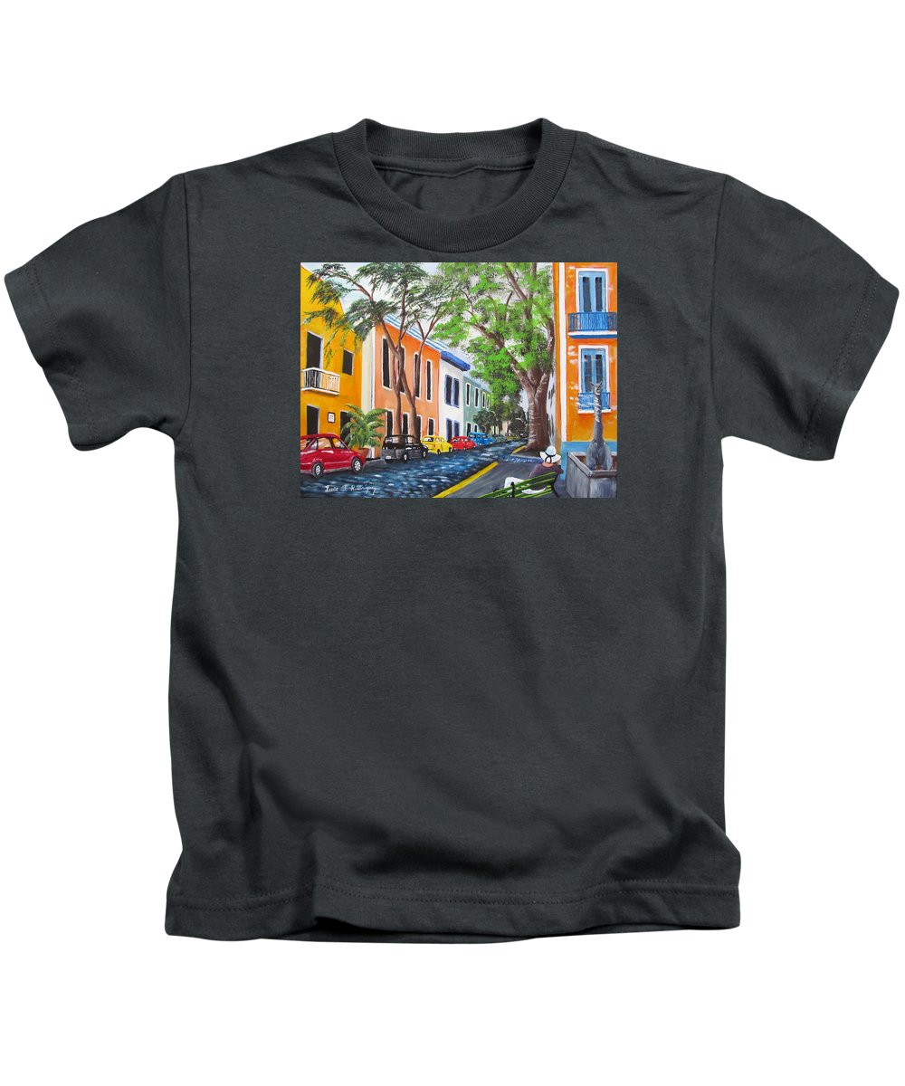 Old San Juan Kids T-Shirt featuring the painting Pensando En El Viejo San Juan by Luis F Rodriguez