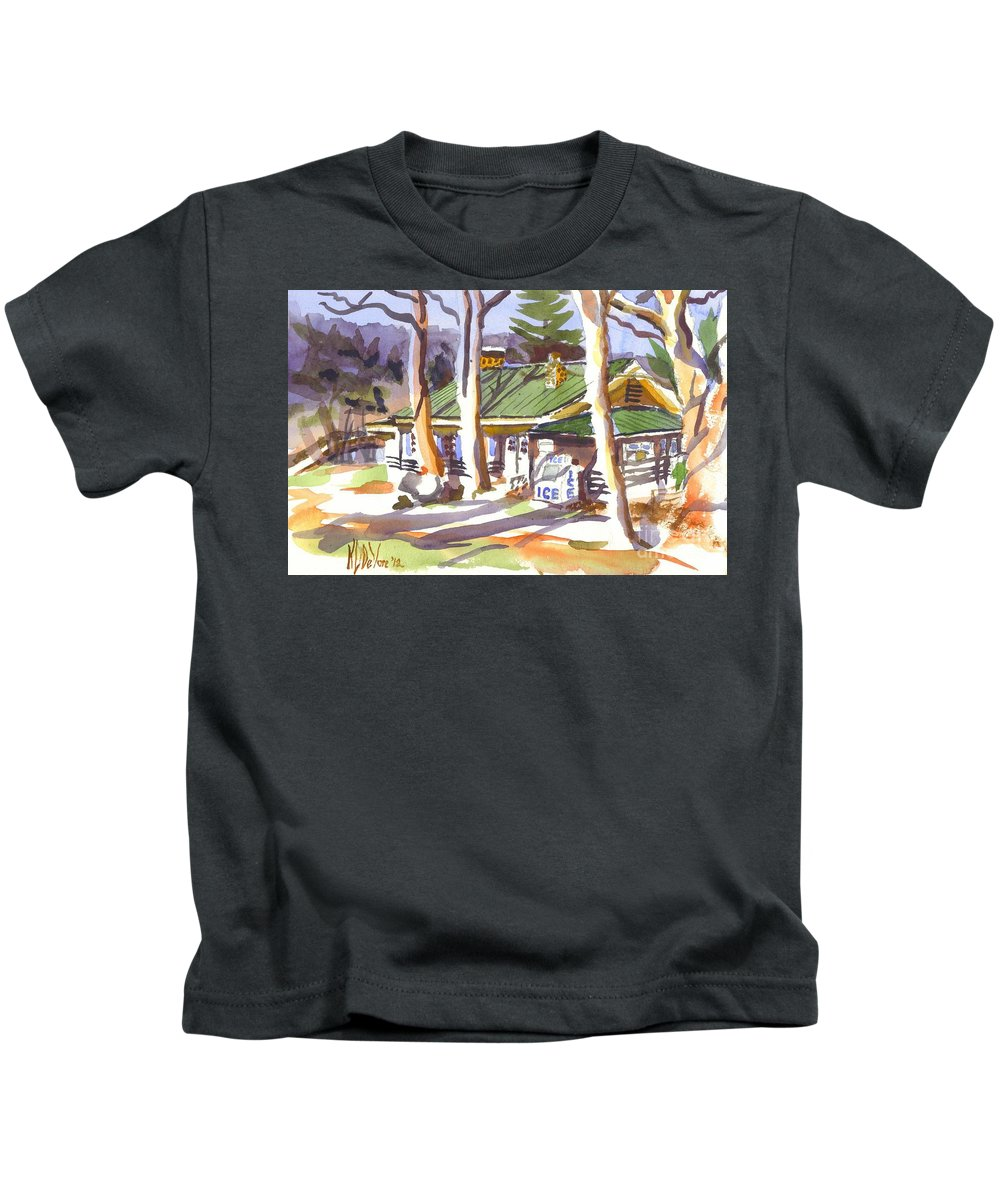 Kipdevore Kids T-Shirt featuring the painting Penuel Lodge In Winter by Kip DeVore