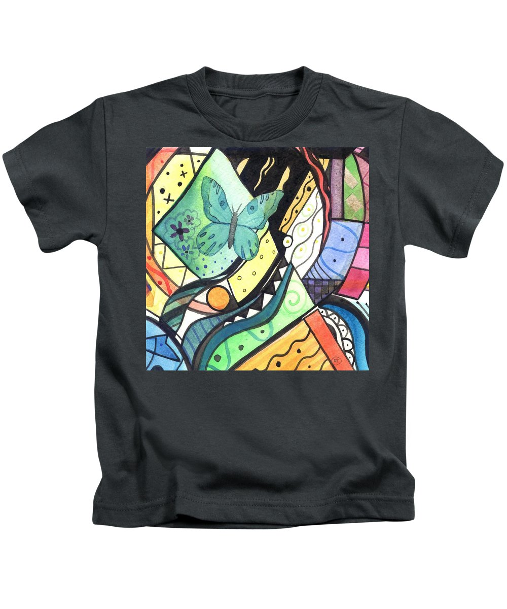 Abstract Kids T-Shirt featuring the painting Persistence Of Form by Helena Tiainen