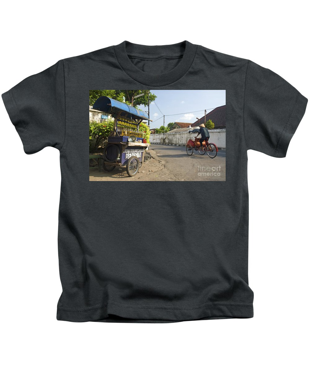 Petrol Kids T-Shirt featuring the photograph Petrol Stall And Cyclo Taxi In Solo City Indonesia by Jacek Malipan