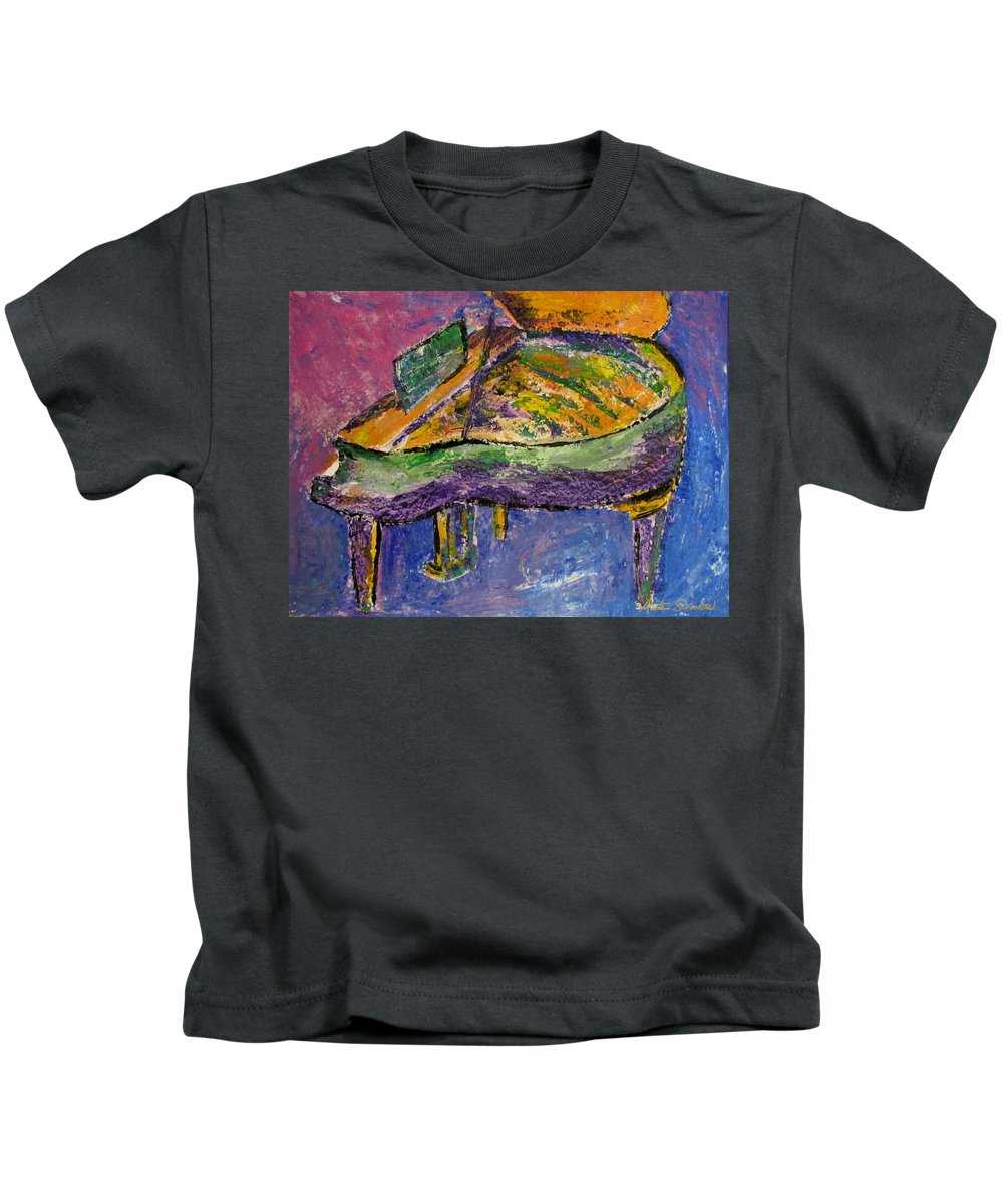 Impressionist Kids T-Shirt featuring the painting Piano Purple by Anita Burgermeister