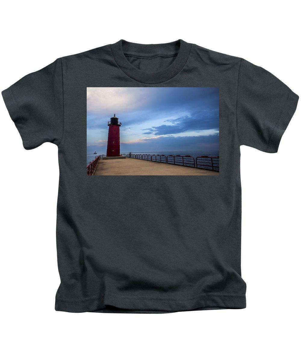 Www.cjschmit.com Kids T-Shirt featuring the photograph Pierhead At Dusk by CJ Schmit