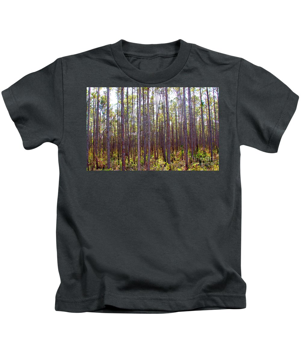 Pine Kids T-Shirt featuring the photograph Pine Trees by Carey Chen