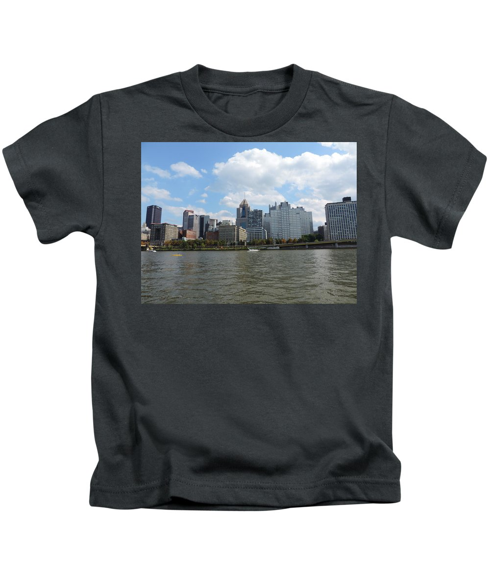 City Kids T-Shirt featuring the photograph Pittsburgh Skyline From The Waterfront by Cityscape Photography