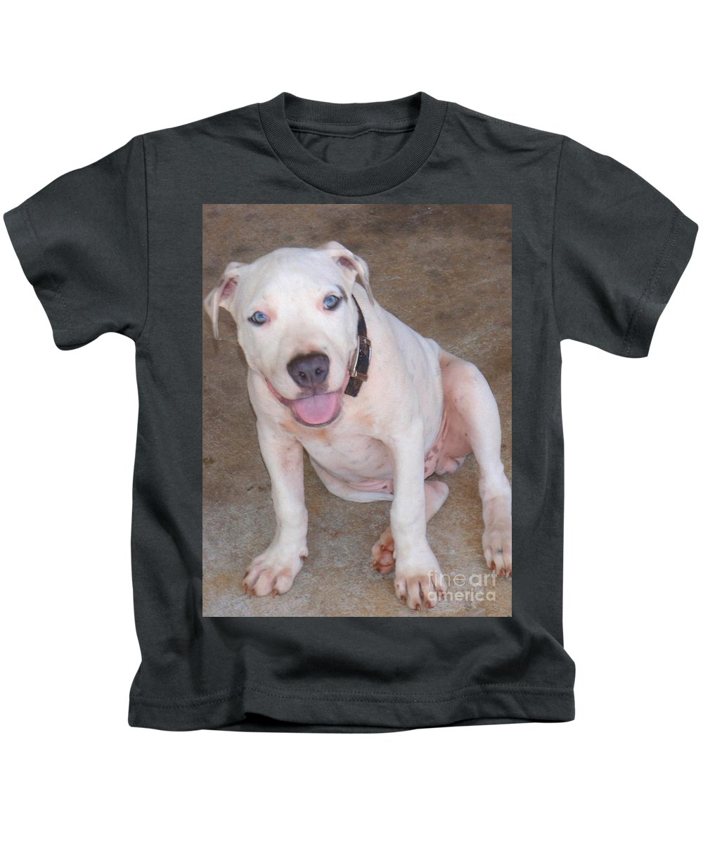 Mary Deal Kids T-Shirt featuring the photograph Playful Pitbull Puppy Haaweo by Mary Deal