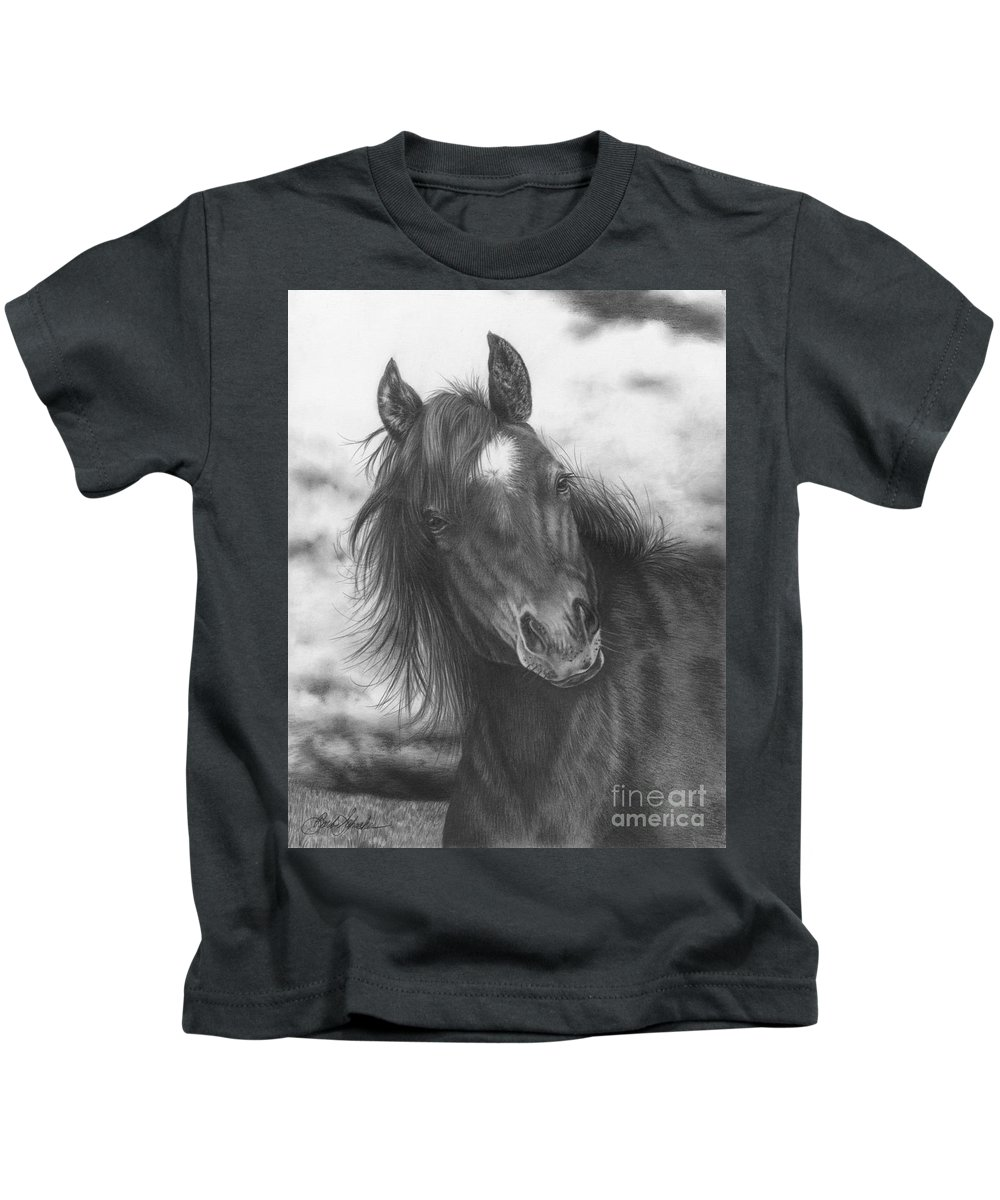 Equine Art Kids T-Shirt featuring the drawing Playing Before The Storm by Barb Schacher