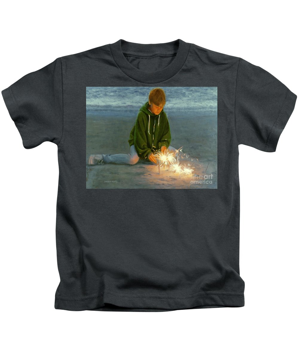 Boy Kids T-Shirt featuring the painting Playing With Fire by Candace Lovely