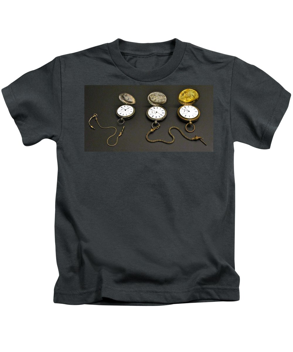 Pocket Watch Kids T-Shirt featuring the photograph Pocket Watches by Dave Mills