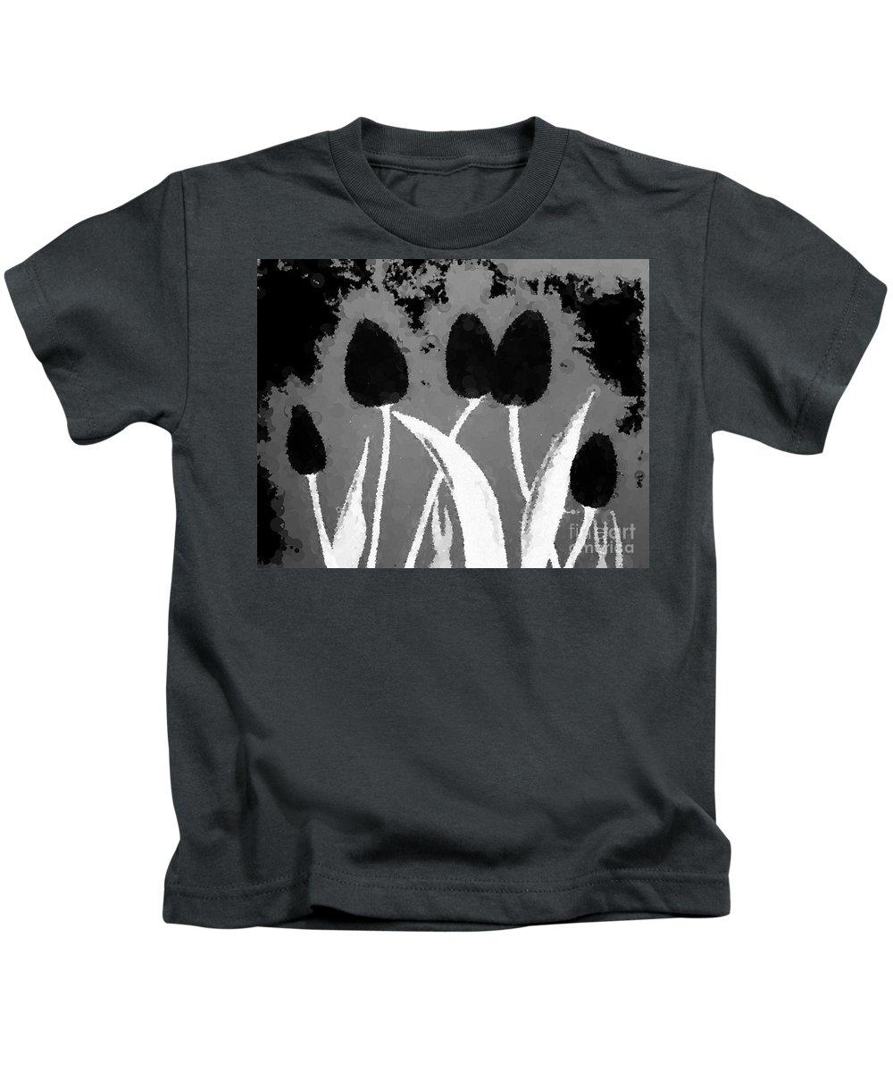 Polka Dot Black Tulips Kids T-Shirt featuring the photograph Polka Dot Black Tulips by Barbara Griffin