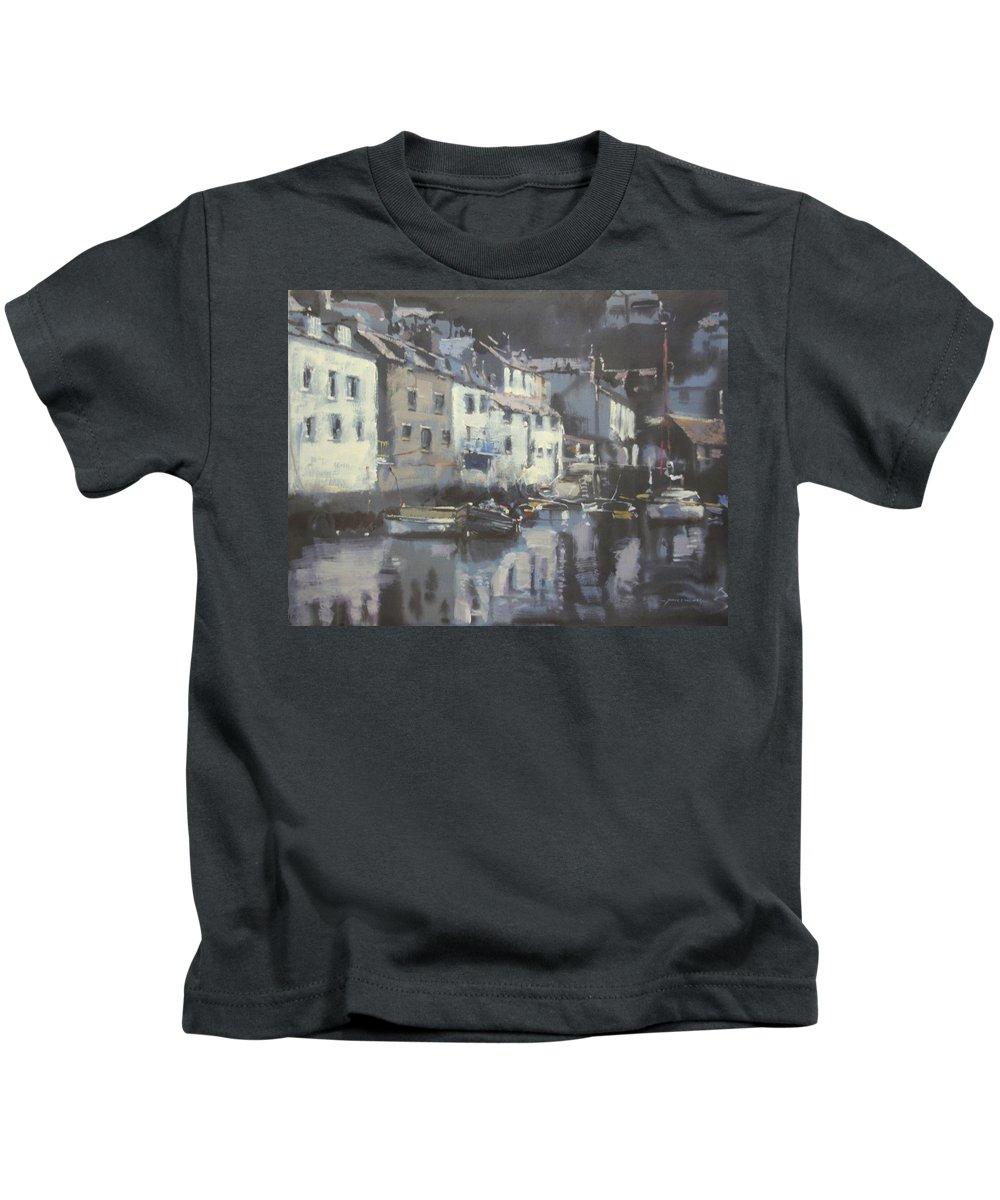 Cornwall Kids T-Shirt featuring the mixed media Polpero Cornwall England by Derek Williams