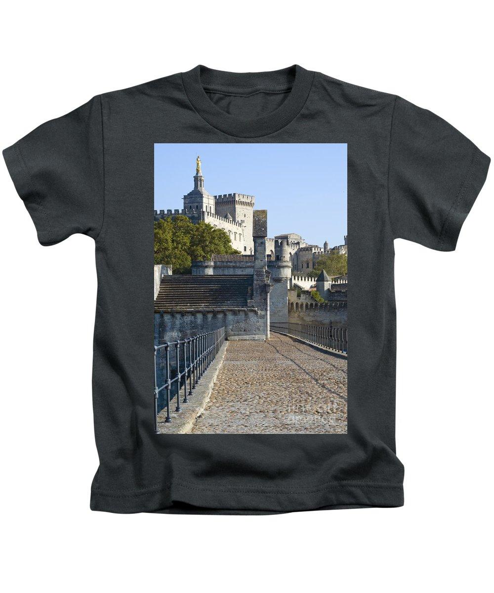 Avignon France Pope Palace Palaces Bridge Bridges Provence Landmark Landmarks Landscape Landscapes Kids T-Shirt featuring the photograph Pope Palace by Bob Phillips