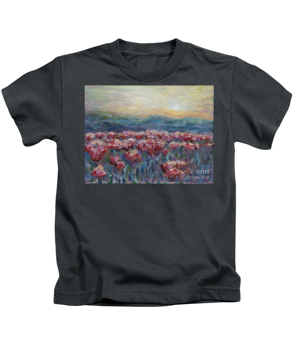 Poppies Kids T-Shirt featuring the painting Poppies at Sunset by Nadine Rippelmeyer