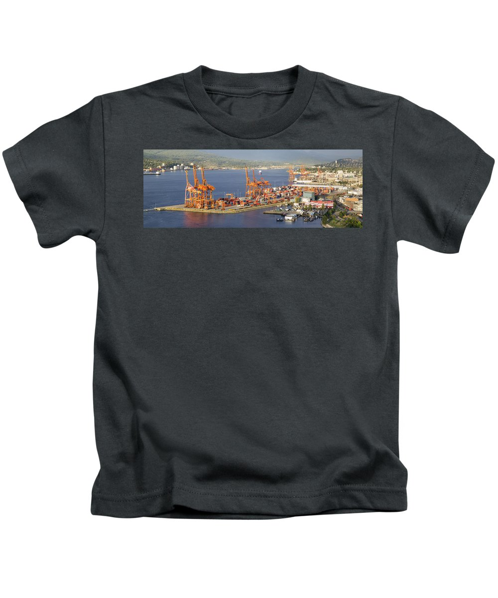 Port Kids T-Shirt featuring the photograph Port Of Vancouver Panorama by Jit Lim