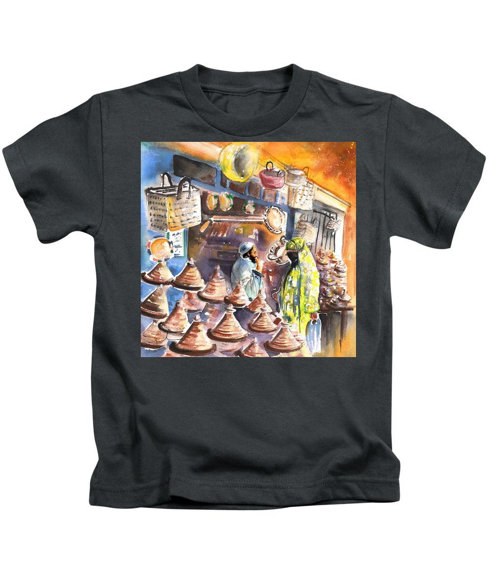 Travel Kids T-Shirt featuring the painting Pottery Seller In Essaouira by Miki De Goodaboom