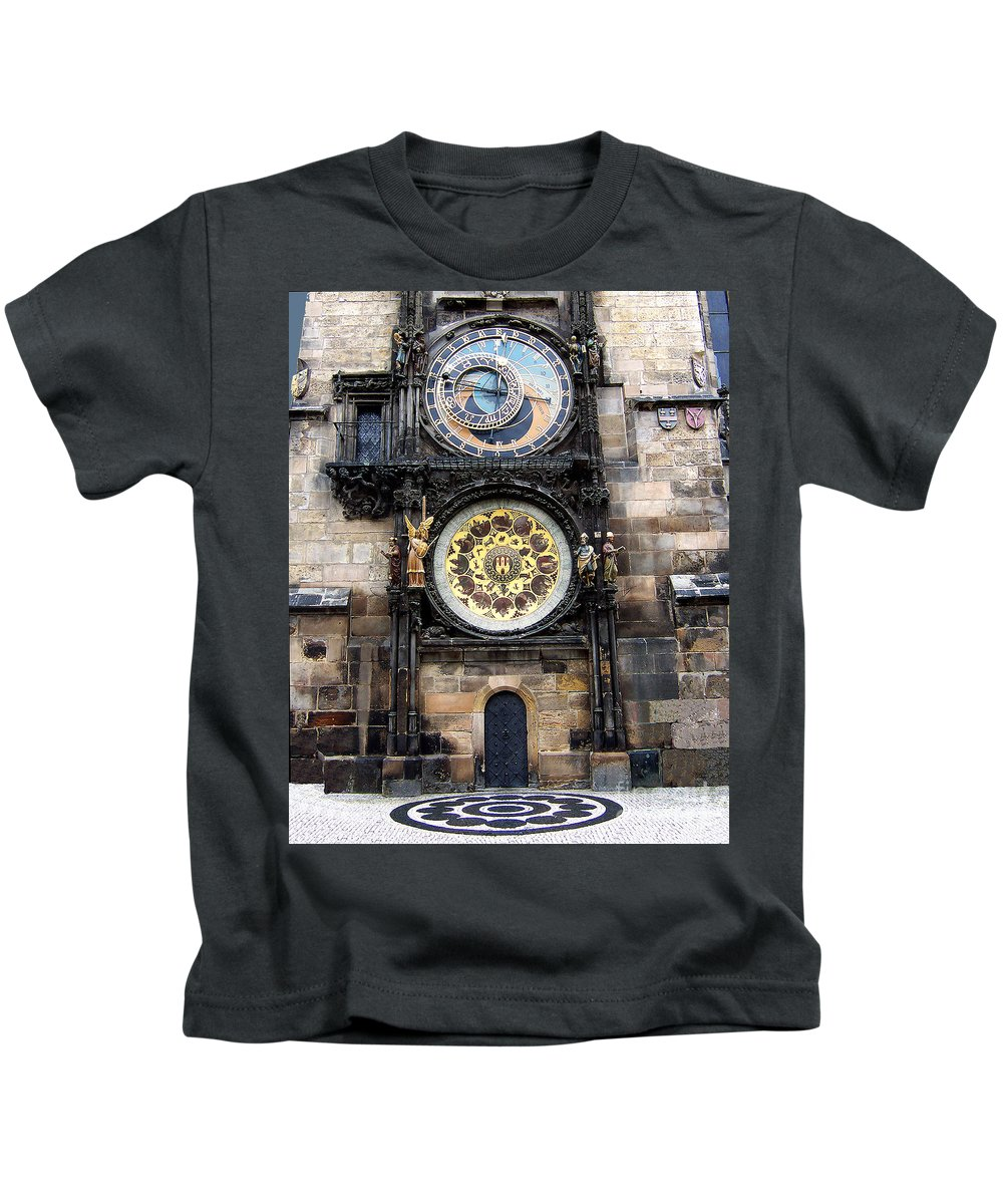 Astrology Kids T-Shirt featuring the photograph Prague Astronomical Clock by Tom Conway