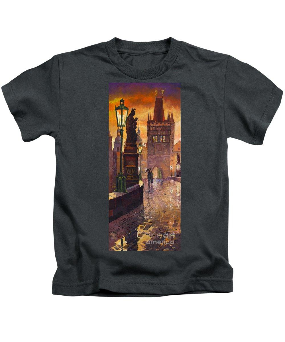 Prague Kids T-Shirt featuring the painting Prague Charles Bridge 01 by Yuriy Shevchuk