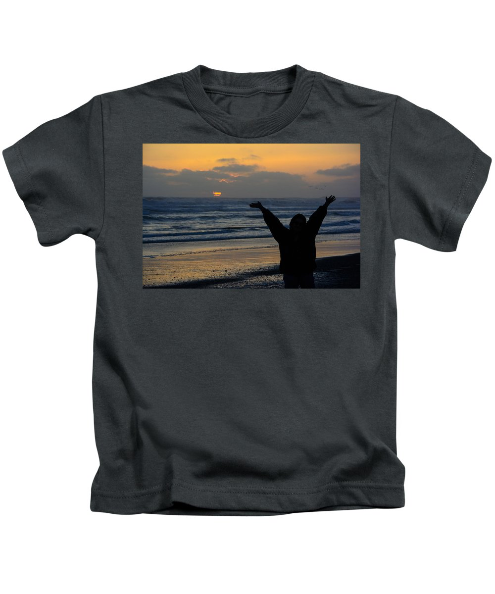 Sunset Kids T-Shirt featuring the photograph Praise by Tikvah's Hope
