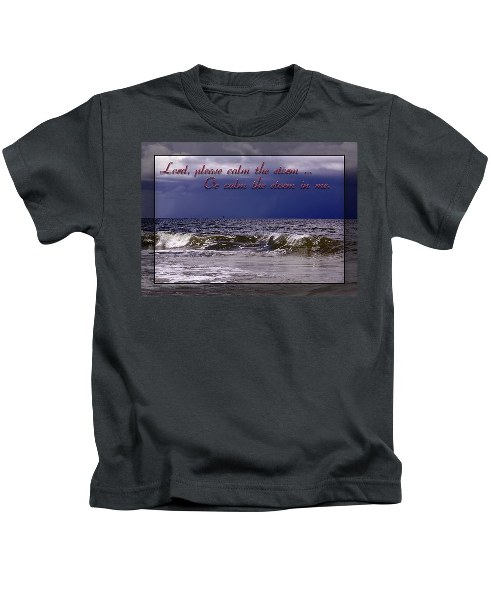 Stormy Beach Kids T-Shirt featuring the photograph Prayer In Storm by Carolyn Marshall