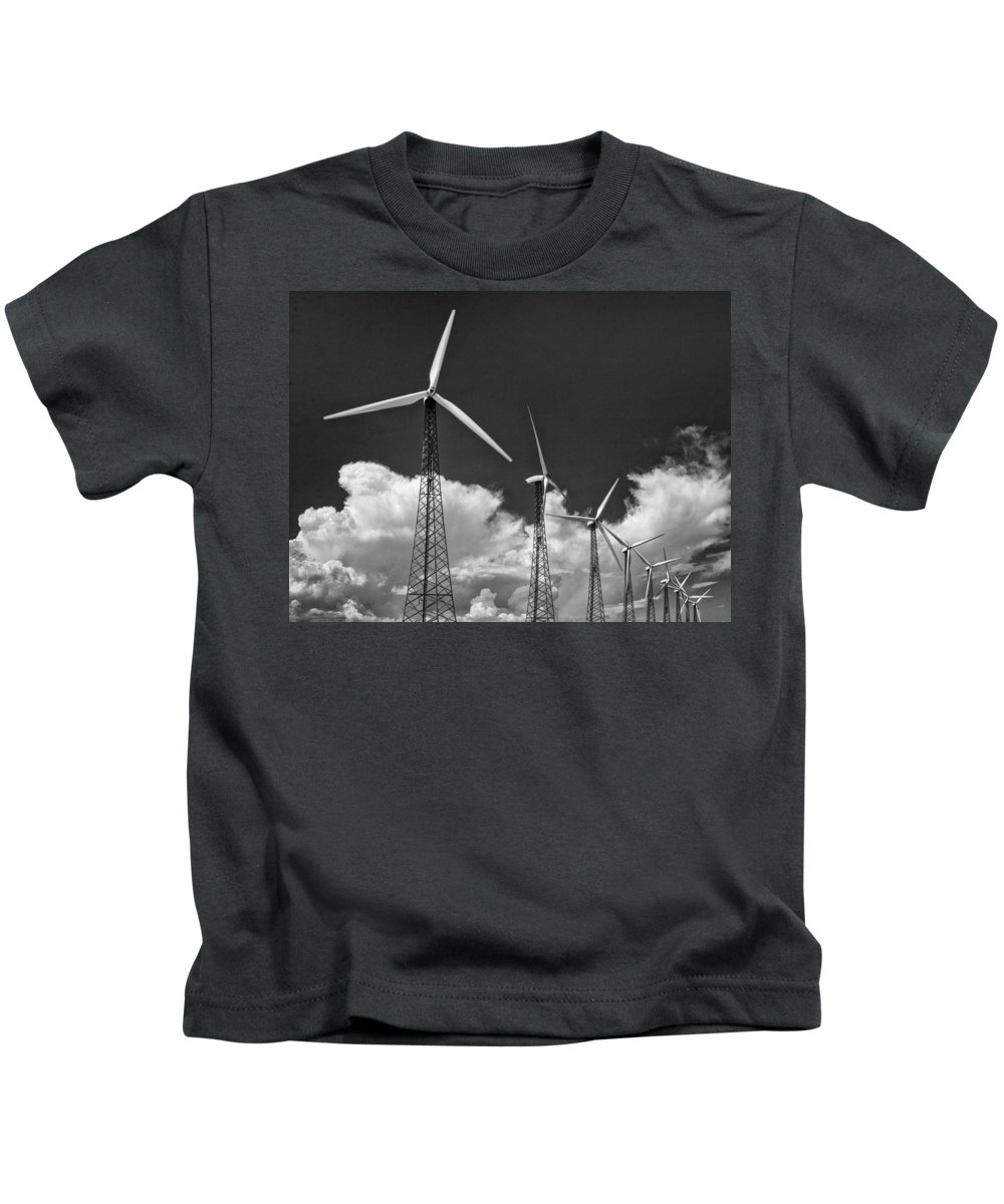 Windmills Kids T-Shirt featuring the photograph Predecessor Palm Springs by William Dey