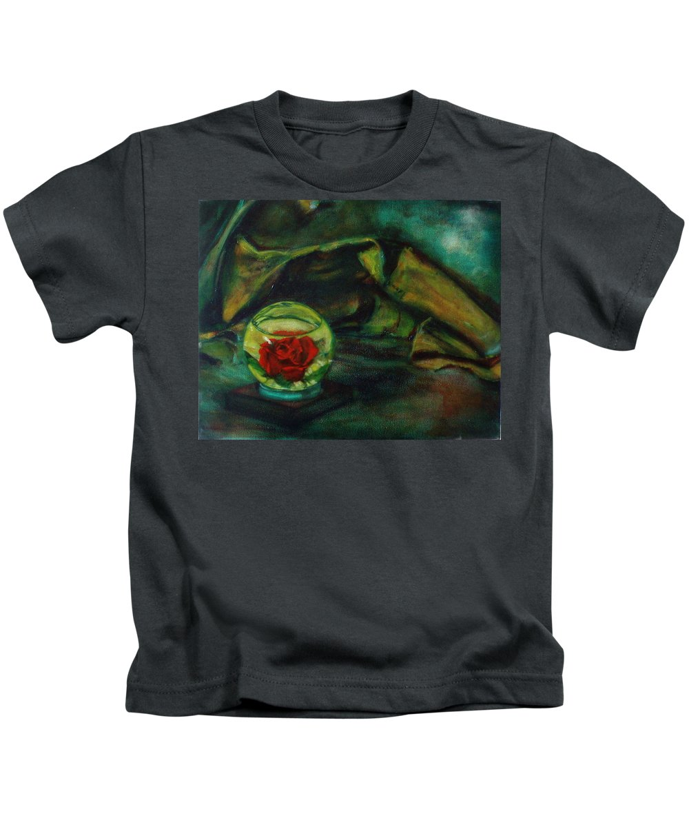 Still Life Kids T-Shirt featuring the painting Preserved Rose . . Draped Canvas by Sean Connolly