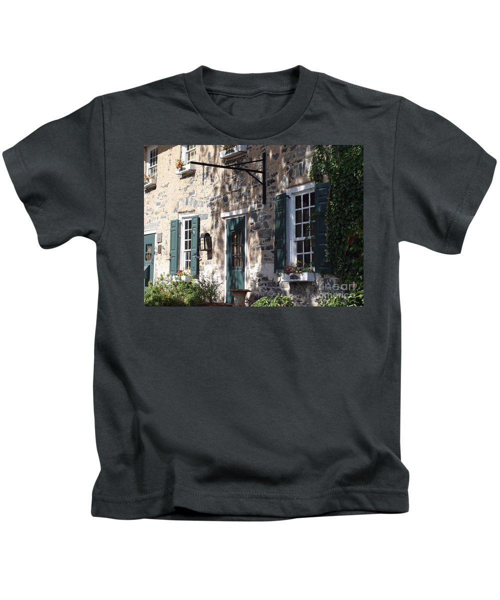 Brick Building Kids T-Shirt featuring the photograph Pretty Brick Building And Flower Boxes by Living Color Photography Lorraine Lynch