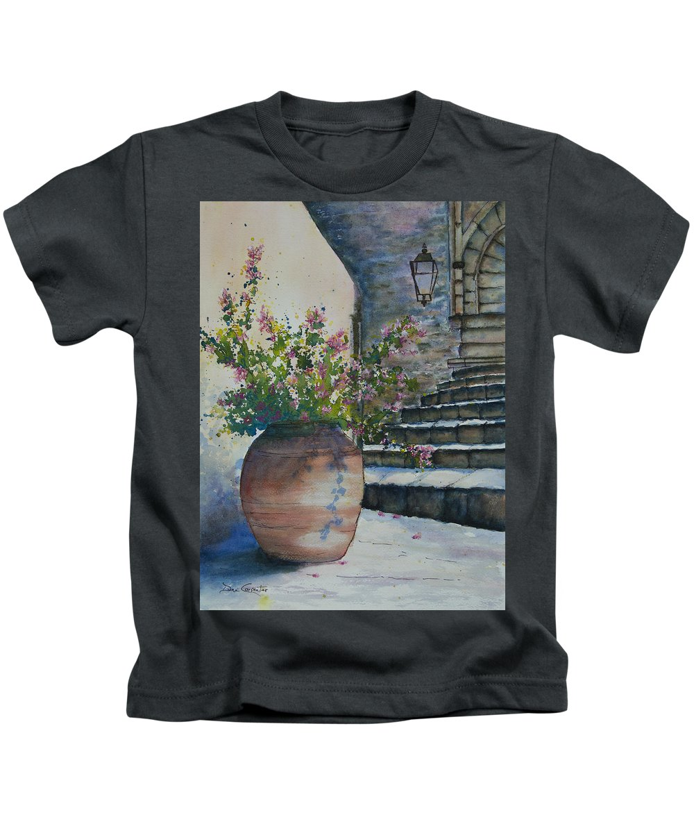 Italian Kids T-Shirt featuring the painting Pretty Little Flowers by Dee Carpenter