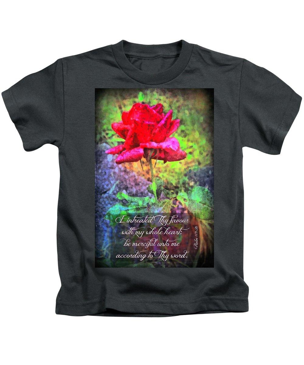 Jesus Kids T-Shirt featuring the digital art Psalm 119 58 by Michelle Greene Wheeler