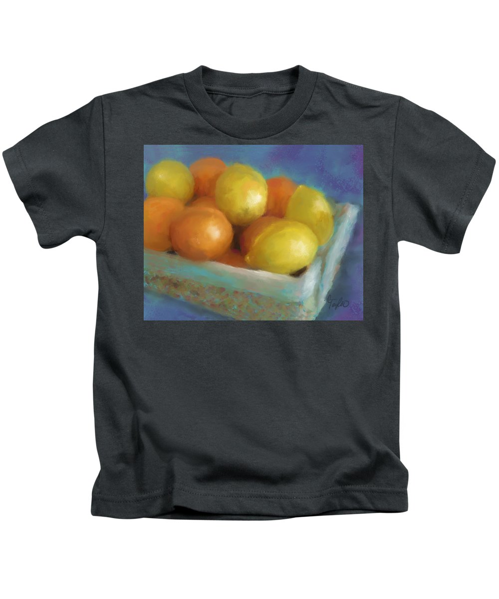 Oranges Kids T-Shirt featuring the painting Pucker Power by Colleen Taylor