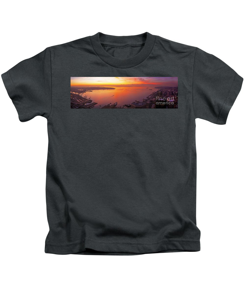 Seattle Kids T-Shirt featuring the photograph Puget Sound Sunset by Mike Reid