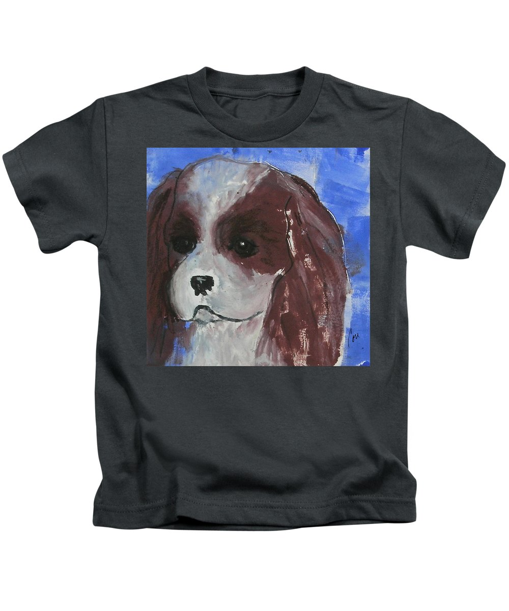 Monotype Kids T-Shirt featuring the mixed media Puppy Doll by Cori Solomon