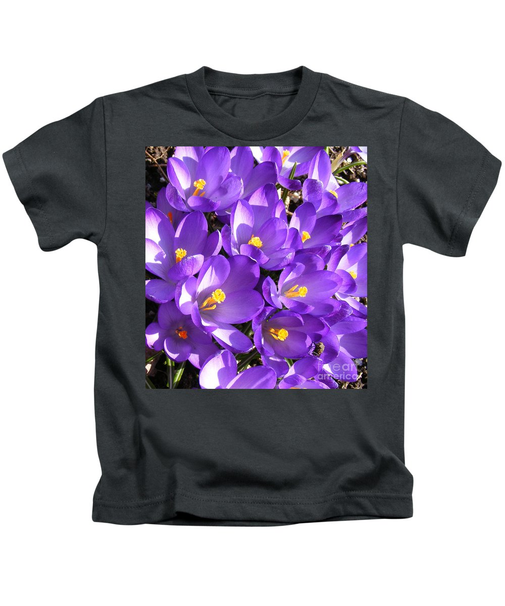 Purple Crocus Kids T-Shirt featuring the photograph Purple Crocus Spring Welcome by Barbara Griffin