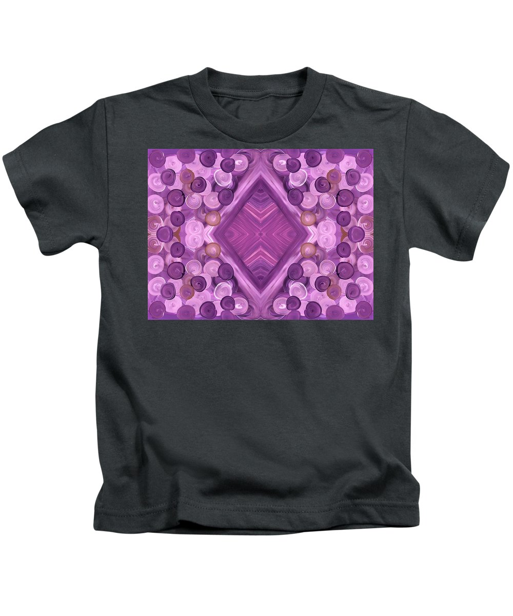 Purple Kids T-Shirt featuring the painting Purple Dreams Diamond Pebbles by Barbara St Jean