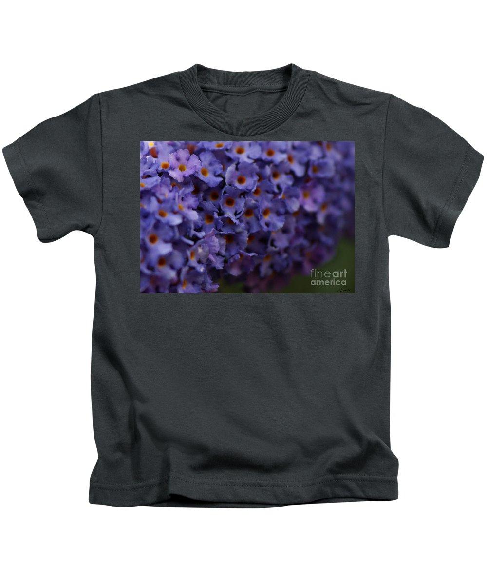 Purple Kids T-Shirt featuring the photograph Purple Flowers 2 by Carol Lynch