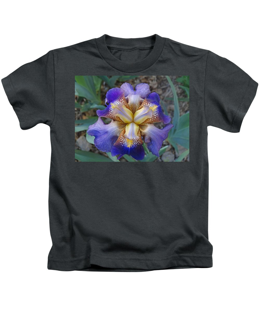 Blooming Flowers Kids T-Shirt featuring the photograph Purple Iris by Greg Boutz