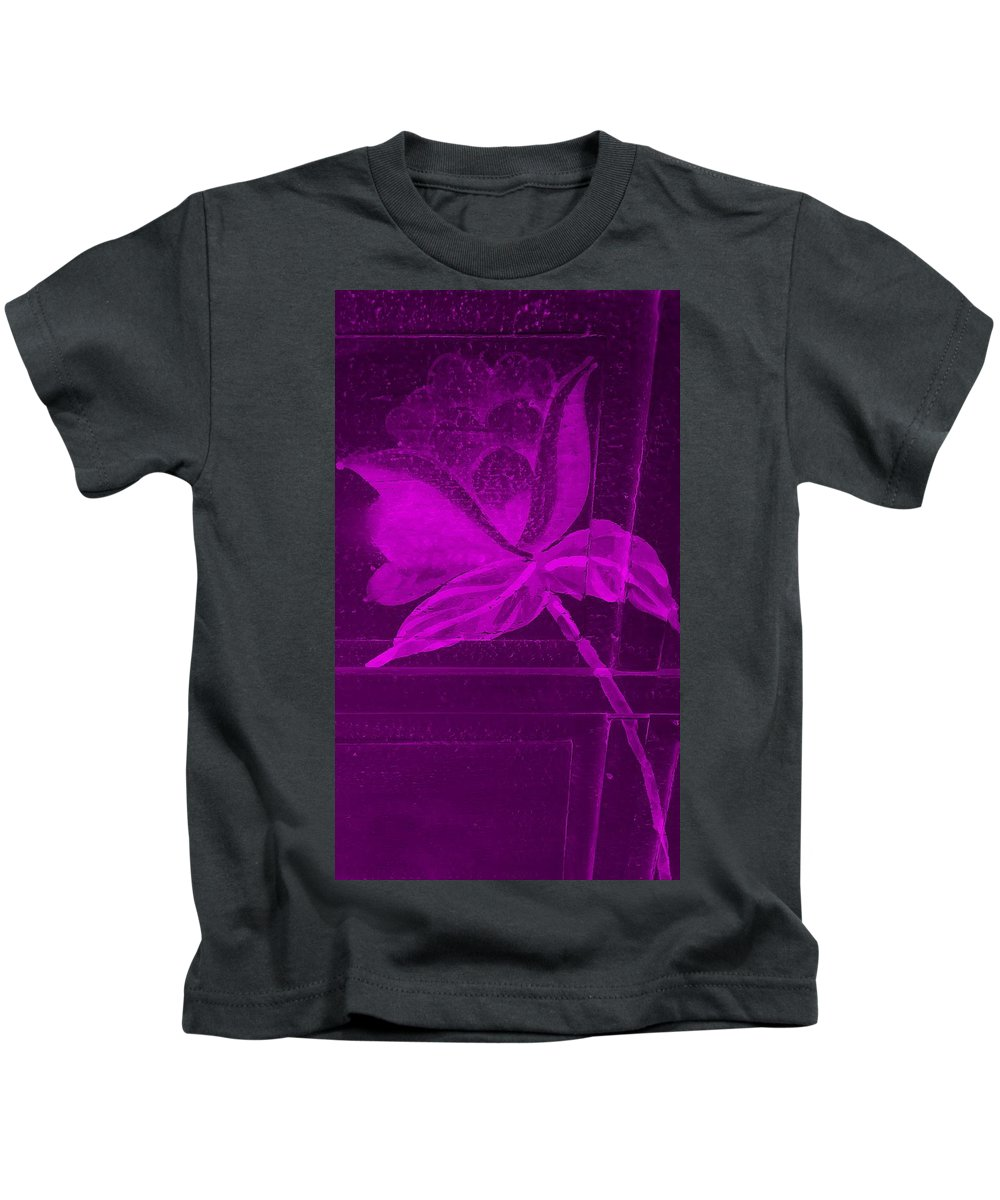 Flowers Kids T-Shirt featuring the photograph Purple Negative Wood Flower by Rob Hans