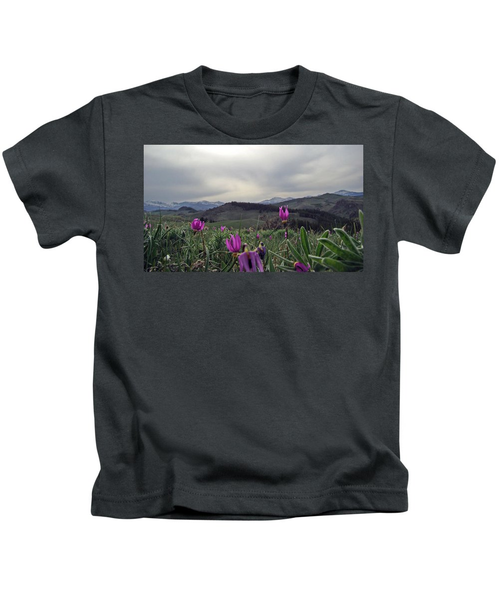 Flowers Kids T-Shirt featuring the digital art Purple Spring In The Big Horns by Cathy Anderson